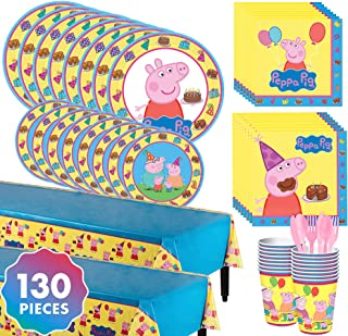 Party City Peppa Pig Complete Tableware Kit for 16 Guests, 130 Pieces, Includes Plates, Napkins, Cups, and Table Cover