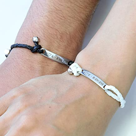 Personalized Couples Bracelet Men Women Custom Leather Bracelet Engraved Bracelet Fathers Day Gift Graduation Gift His and Her Jewelry -MRBR