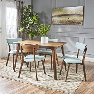 Christopher Knight Home Meanda Mid Century Finished 5 Piece Wood Dining Set Fabric Chairs, Natural Walnut/Mint