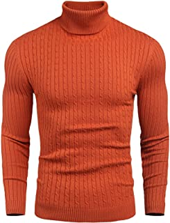 nine bull Mens Slim Fit Turtleneck Sweater Cable Knit Thermal Pullover Sweater