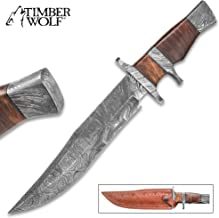 TIMBER WOLF Ascension Bowie/Fixed Blade Knife - Hand Forged Damascus Steel - Sub Hilt; Heartwood - Genuine Leather Sheath - Collecting Collection Display Outdoors Hunting Camping - 14