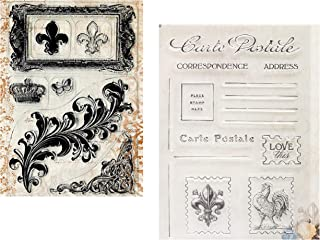 Fleur De Lis Stamp | Set of French Country Themed Stamps with Farmhouse Rooster, Swirl, Scroll, Postcard Designs | Clear Acrylic Stamps for Card Making, Crafting, Scrapbooking