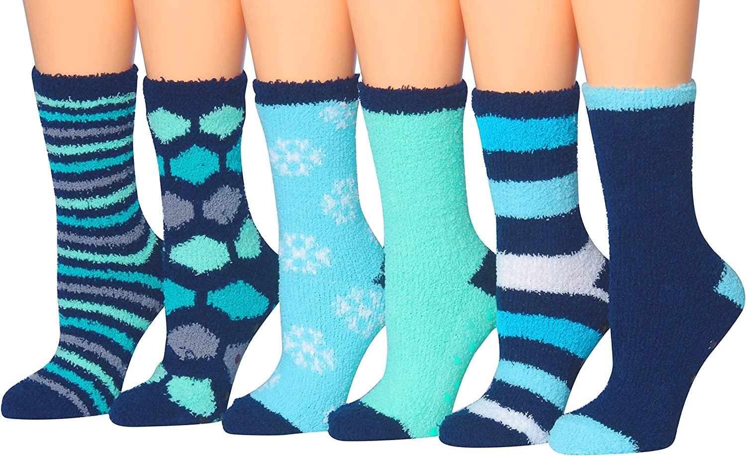 Tipi Toe Women's 6Pairs Patterned & Solid AntiSkid Soft Fuzzy Crew Socks