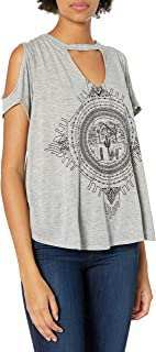 Jessica Simpson Women's Ula Cutout Neck Graphic Tee