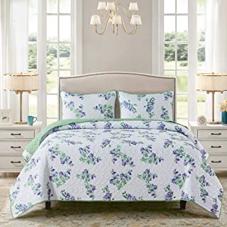 Soul & Lane Lilac Fields 2-Piece Bedding Quilt Set - Twin with 1 Sham   Summer Floral Country Quilted Bedspread