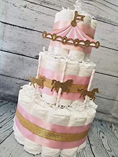 Carousel Merry Go Round Diaper Cake - 3 Tier - Baby Shower Gift - Circus Theme - Gold (Blue, Pink, Neutral Options)