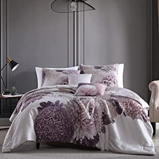Bebejan Bloom 100% Cotton Sateen 5 Piece Comforter Set   Cozy, Soft, Breathable   Contemporary Floral Design for All Seaso...