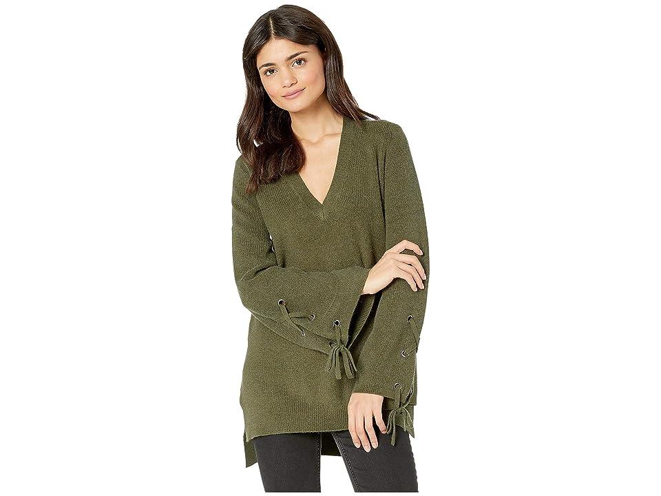 Jack by BB Dakota Sleeve It To Me Lace-Up Sleeve Tunic Sweater (Olive) Women