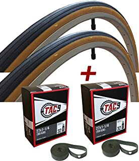 TAC 9 - 27x1-1/4 Bike Tire, Bonus Tube and Rim Strip - Select Gum Wall or Black Wall