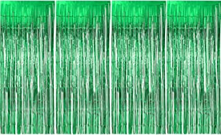 Sumind 4 Pack Foil Curtains Metallic Fringe Curtains Shimmer Curtain for Birthday Wedding Party Christmas Decorations (Green)
