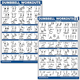 """QuickFit 2 Pack Dumbbell Workout Exercise Posters - Volume 1 & 2 - Free Weight Body Building Exercise Charts - 18"""" x 27"""" -..."""