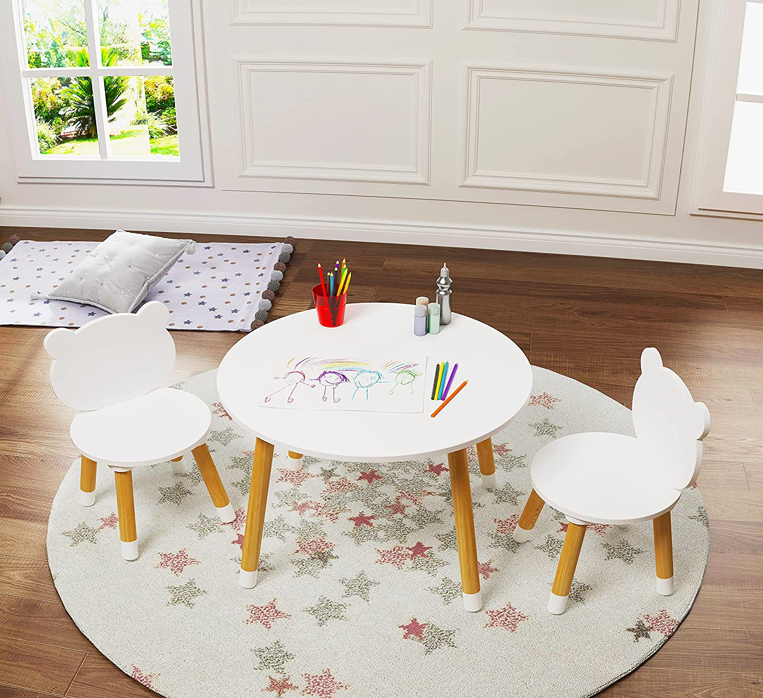UTEX Kids Wood Table and Chair Set, Kids Play Table with 2 Chairs,3 Pieces Round Play Tablet for Toddlers, Girls, Boys,White