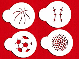 Designer Stencils C219 Small Sports Ball Cupcake and Cookie Stencils (Basketball - Golf - Soccer - Baseball), Beige/semi-transparent