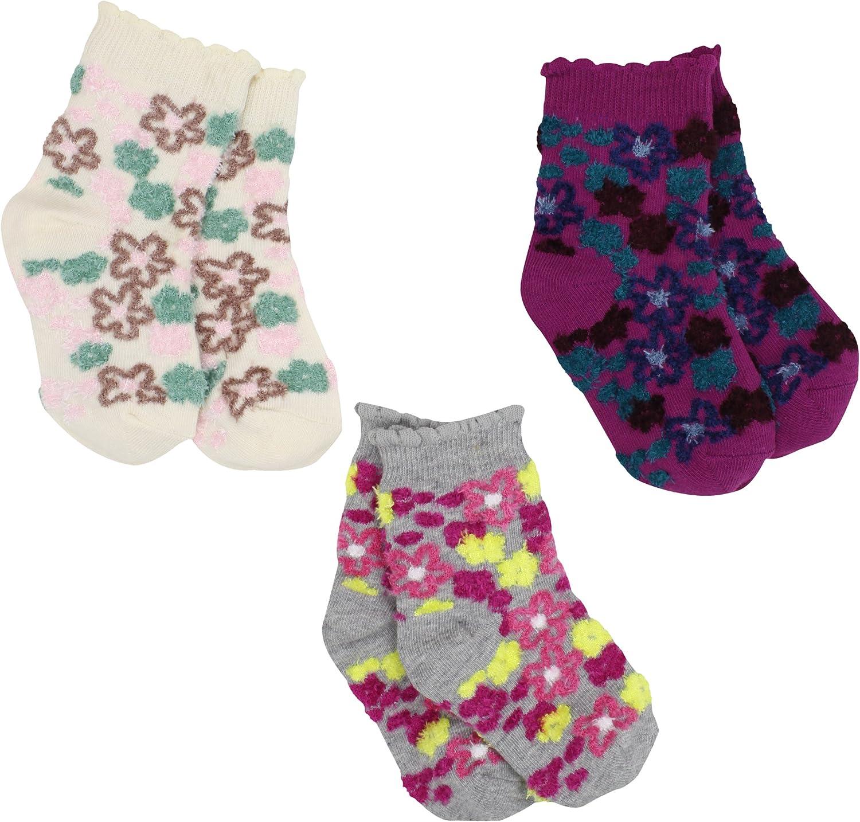 Country Kids Baby Girls' Fuzzy Flower 3 Pair Socks