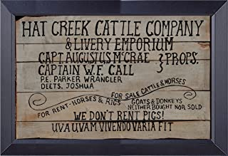 Gatsbe Exchange , Lonesome Dove We Don't Rent Pigs Hat Creek Cattle Co. Framed Print 14 X 21 Size