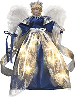 Valery Madelyn 15.8 Inch Royal Blue Cloth Christmas Angel Tree Topper, Angel Tree Top with 10 Warm LED Lights, Battery Operated (Not Included)