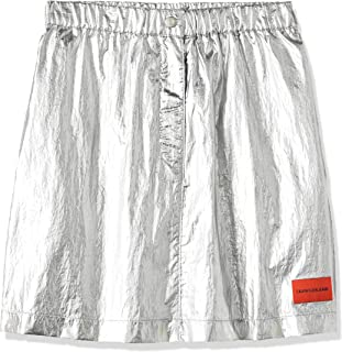 Calvin Klein Jeans Women's Silver Utility Skirt, Silver (Silver Place Holder 901), Large