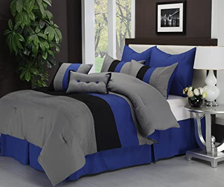 Superior 8-Piece Luxurious Florence Comforter Set,  Beautiful Pleated Bed-in-a-Bag,  King,  Blue