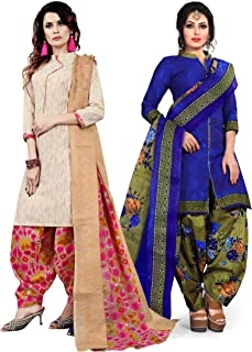 Rajnandini Women's Beige and Blue Cotton Printed Unstitched Salwar Suit Material (Combo Of 2) (Free Size)