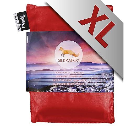 Silkrafox XL - super-king-sized ultralight sleeping bag liner, artificial silk inlett, perfect for hiking, backpacking, outdoor activities