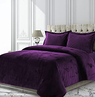 Tribeca Living VENICEDUVETKIPU Venice Velvet Oversized Solid Duvet Set, King, Purple
