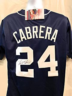 Miguel Cabrera Detroit Tigers Signed Autograph Blue Custom Jersey JSA Witnessed Certified