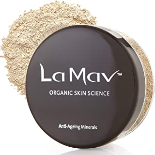 La Mav Foundation Powder Makeup LIGHT/MEDIUM - Chemical-free Anti-Aging Mineral Foundation, Concealer, SPF15 and Powder Al...