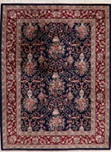 Aubusson Oriental Wool Silk Area Rug Hand-Knotted Floral Chinese Carpet 9 x 12 (12' 1'' X 9' 0'')