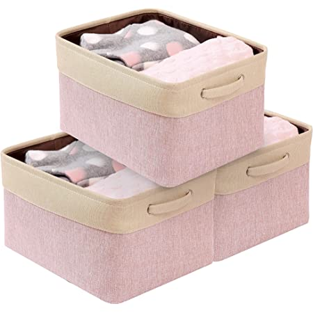 DECOMOMO Set of 6 Foldable Storage Bin Water Resistant Fabric Container with Handles Great for Nurseries Closets Bathroom Toys Blankets Home D/écor Cube, Extra Thick