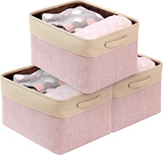 DECOMOMO Extra Large Foldable Storage Bin [3-Pack] Collapsible Sturdy Cationic Fabric Basket W/Handles for Organizing Shelf Nursery Home Closet (Extra Large - 15.8 x 12.5 x 10, Pink and Beige)