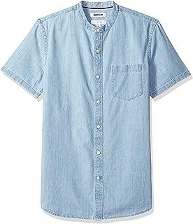 Goodthreads Men's Slim-Fit Short-Sleeve Band-Collar Denim Shirt