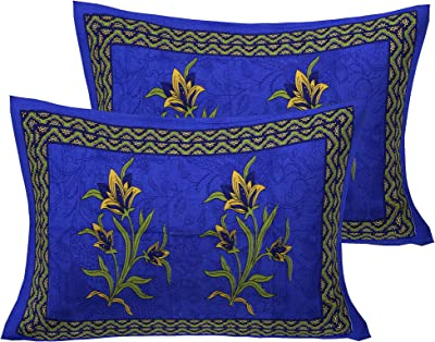 Ealth Kart Cotton Comfort 151 TC Rajasthani Jaipuri Traditional King Size 1 Double Bedsheet with 2 Pillow Covers - Blue, Queen