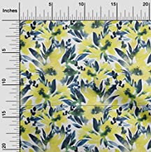 oneOone Cotton Cambric Lime Fabric Leaves & Floral Watercolor Sewing Fabric by The Yard Printed DIY Clothing Sewing Suppli...