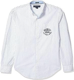 يو.اس. بولو اسن قميص اكسفورد مخطط مقاس نحيف للرجال بازرار سفلية