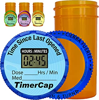 TimerCap Automatically Displays Time Since Last Opened - Built-in Stopwatch Smart Pill Bottle Cap Medication Reminder Case (Qty 4-1.8 oz Amber Bottles) EZ -Twist/CRC