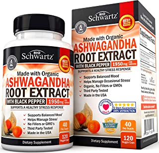 Organic Ashwagandha Capsules with Black Pepper for Stress & Anxiety Relief- Healthy Mood Stabilizer & Energy Booster - Roo...