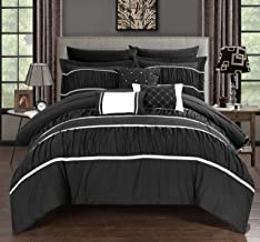 Chic Home CS2119-AN Cheryl 10 Piece Comforter Complete Bag Pleated Ruched Ruffled Bedding with Sheet Set, King, Black