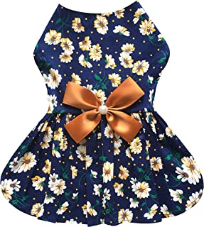 Petroom Sweet Puppy Dog Dress,Cute Princess Cat Dresses Dog Skirt for Small Girl Dogs(Golden Brown,S)