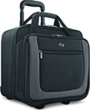 Solo New York Bryant Rolling Laptop Bag. Travel-friendly Rolling Briefcase for Women and Men. Fits up to 17.3 inch laptop. Amazon Exclusive Color Black/Grey