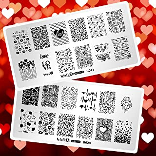 Whats Up Nails - Valentine's Day Stamping Plates 2 pack (B024,  B041) for Nail Art Design