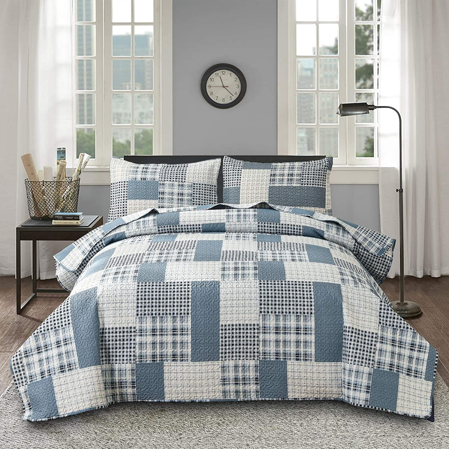 Ycosy Plaid Quilts security Blue White Grey Tartan New Shipping Free Shipping for Stripes Coverlets