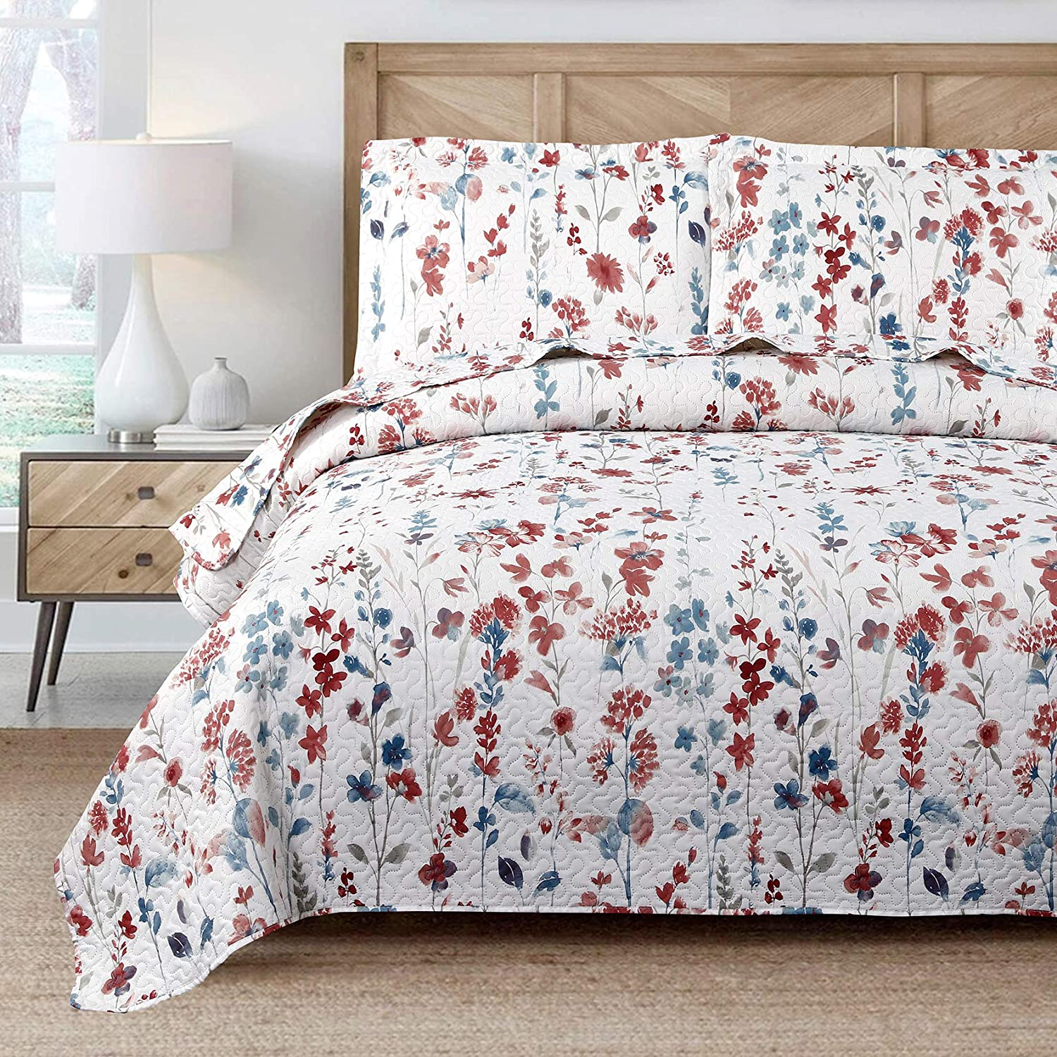 Ranking TOP19 Lilac Quilt Bedspread Queen Full Size Coverlet Set White Red Max 75% OFF Lil