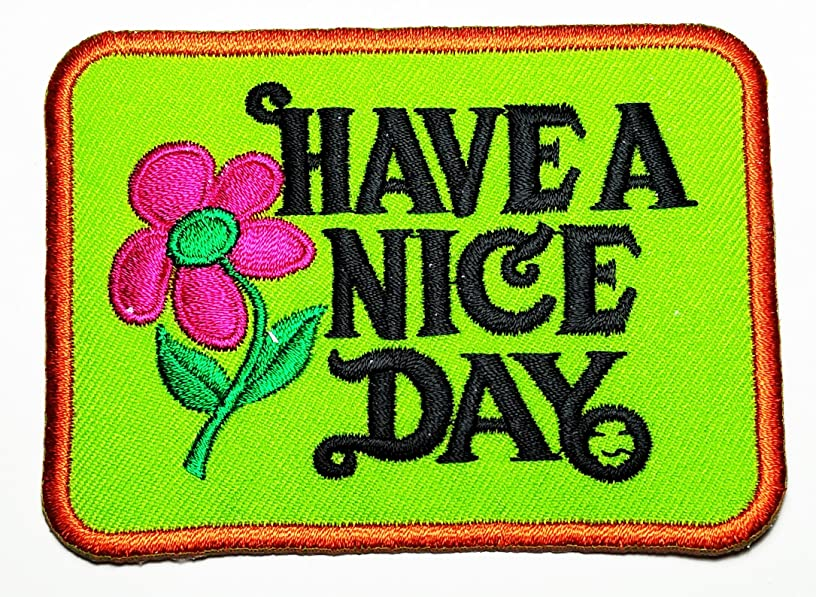 HHO Have A Nice Day Logo Embroidered Patch Cute Rabbit Cartoon Kid Cartoon Patch Embroidered DIY Patches, Cute Applique Sew Iron on Kids Craft Patch for Bags Jackets Jeans Clothes