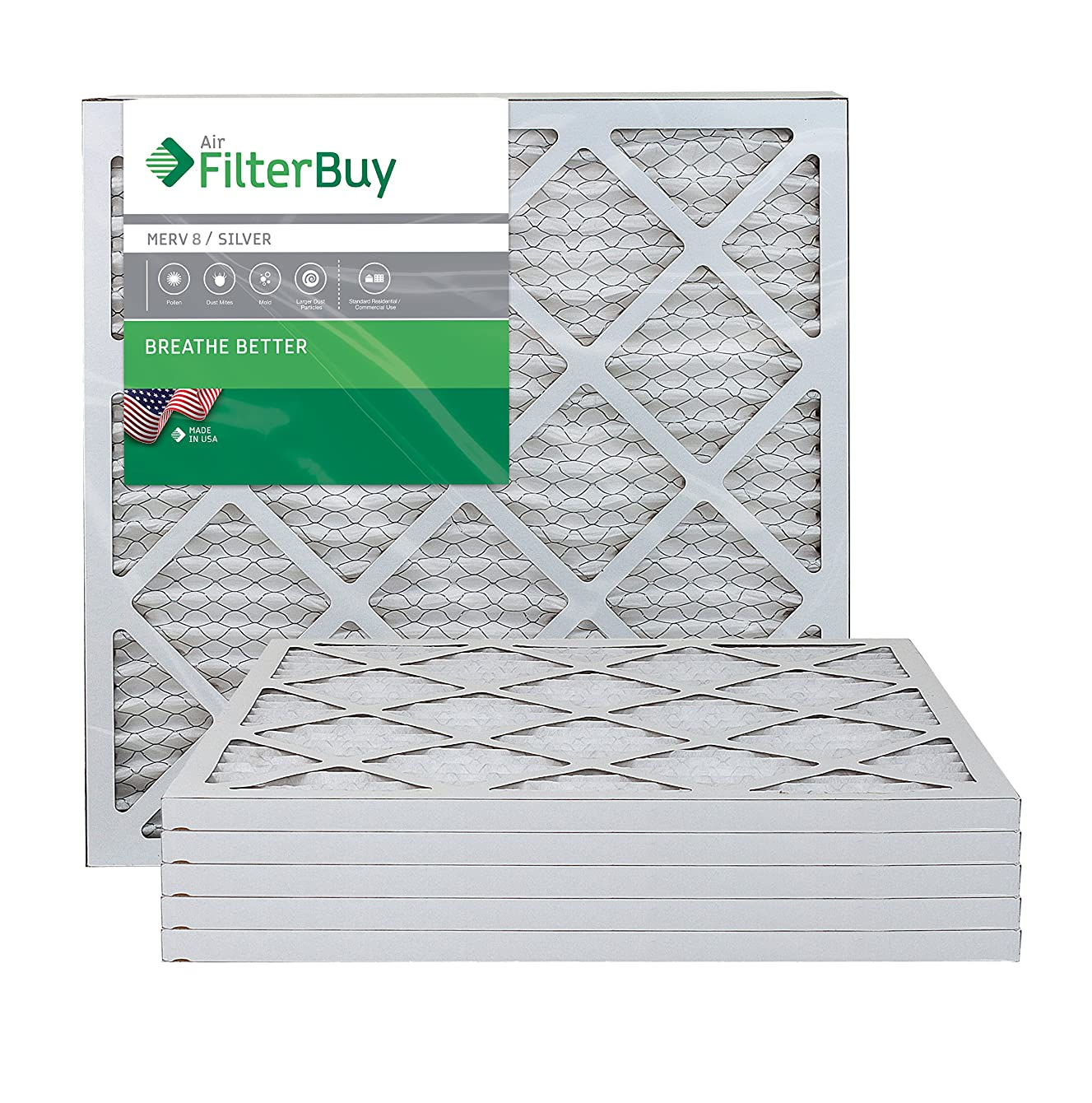 FilterBuy 21x22x1 MERV 8 Pleated AC Furnace Air Filter, (Pack of 6 Filters), 21x22x1 – Silver