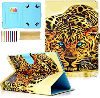 8.0 inch Tablet Case, Cookk Universal Protective Case [Multi-Angle Stand] [Card Slots] PU Leather Cover for All 7.5-8.5 inch iPad Mini, Galaxy Tab A 8.0/Tab E 8.0, Fire HD 8, Lion