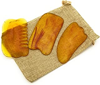 YOLO'S Gua Sha Scraping Massage Tools Kit Resin Amber Guasha Scraper Board Health Care Beauty Scrape Plate Tool for Acupuncture, Deep Tissue Massage Therapy, Muscle Relief, Flax Bag Included (3 Pcs)