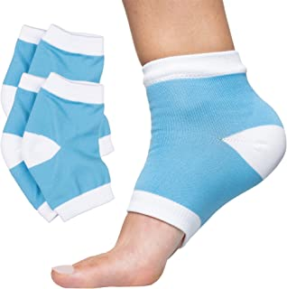 ZenToes Moisturizing Heel Socks 2 Pairs Gel Lined Toeless Spa Socks to Heal and Treat Dry, Cracked Heels While You Sleep (Cotton, Blue)