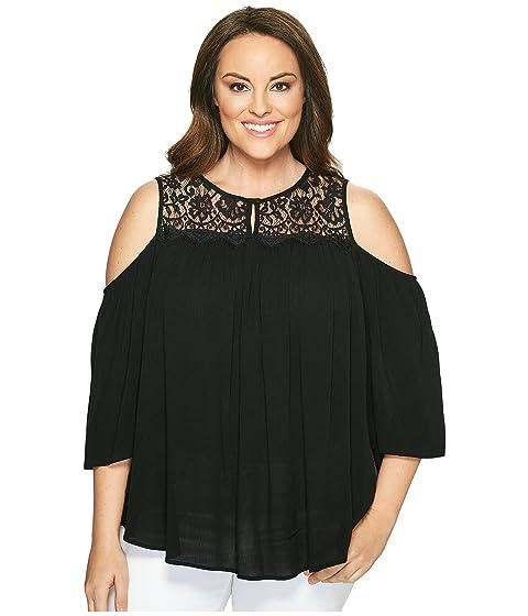 eee33354cdbd0 Karen Kane Plus Plus Size Lace Yoke Cold Shoulder Top at 6pm
