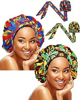 2 Pieces Soft Satin Head Scarf Sleeping Cap Bonnet Headwear Head Wrap Turbans for Women Long Curly Hair, Braids