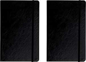 CLASSIC 2 pack leather notebooks/journals - elegant black bullet journal, A5 Writing diary, note taking hard cover ruled and dotted journals, Thick paper 120gsm 5
